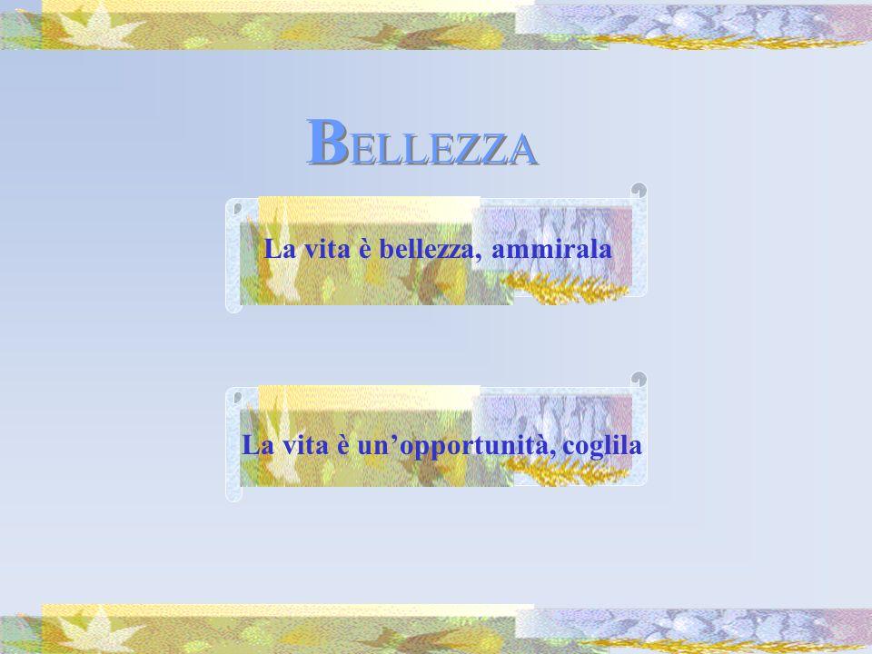 La vita è bellezza, ammirala La vita è unopportunità, coglila B ELLEZZA