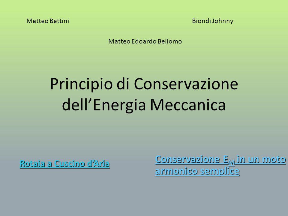 Principio di Conservazione dellEnergia Meccanica Scopo e principi teorici Esecuzione esperienza Tabella dati Conclusioni