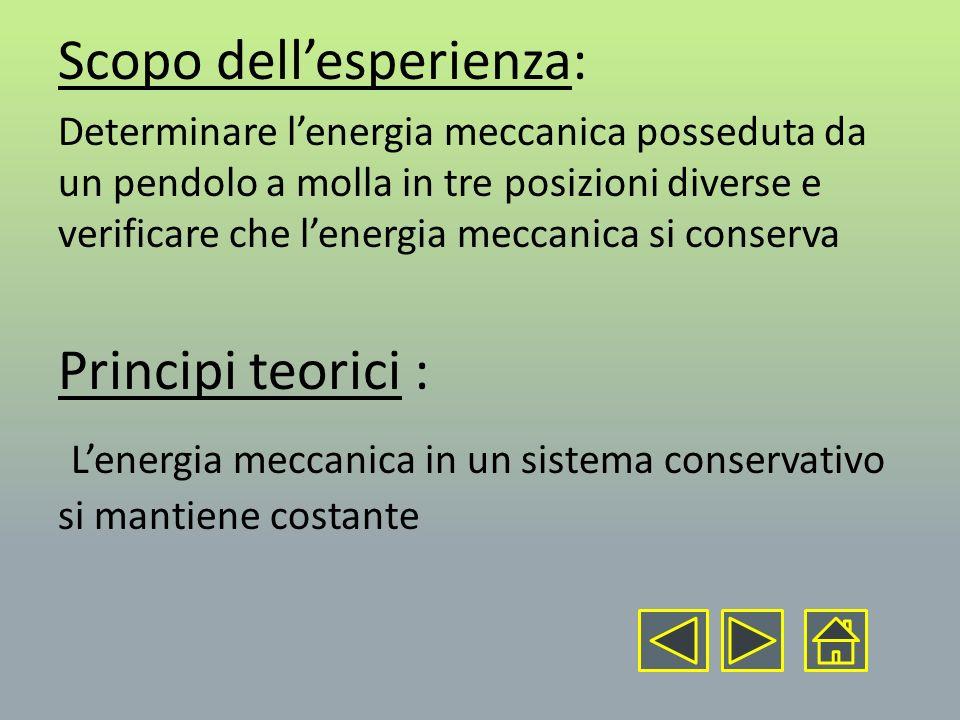 Scopo dellesperienza: Determinare lenergia meccanica posseduta da un pendolo a molla in tre posizioni diverse e verificare che lenergia meccanica si c