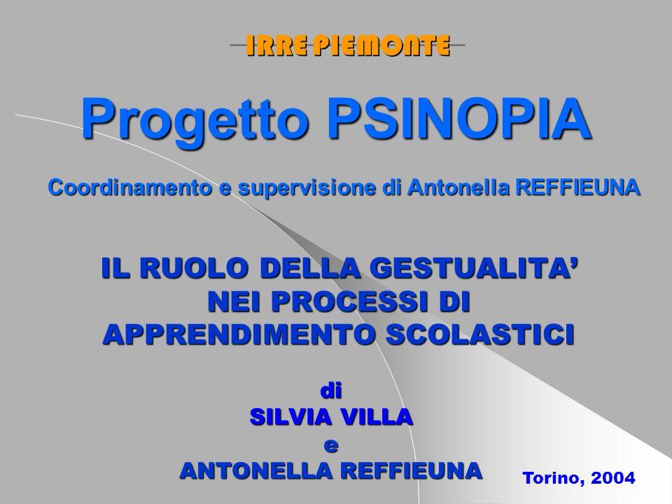IL RUOLO DELLA GESTUALITA NEI PROCESSI DI APPRENDIMENTO SCOLASTICI di SILVIA VILLA e ANTONELLA REFFIEUNA Torino, 2004 IRRE PIEMONTE Progetto PSINOPIA Coordinamento e supervisione di Antonella REFFIEUNA