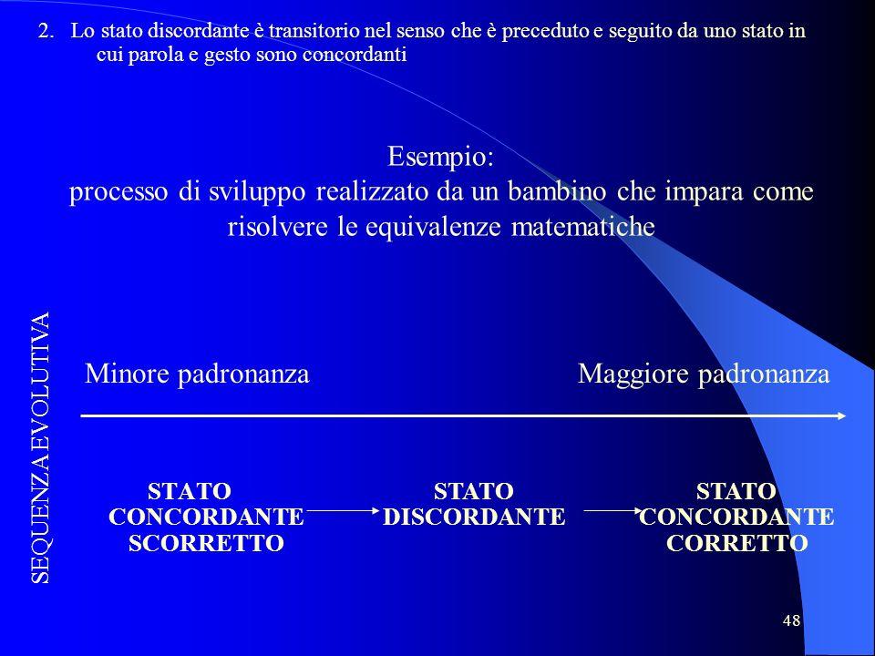 48 Esempio: processo di sviluppo realizzato da un bambino che impara come risolvere le equivalenze matematiche STATO CONCORDANTE SCORRETTO STATO DISCO