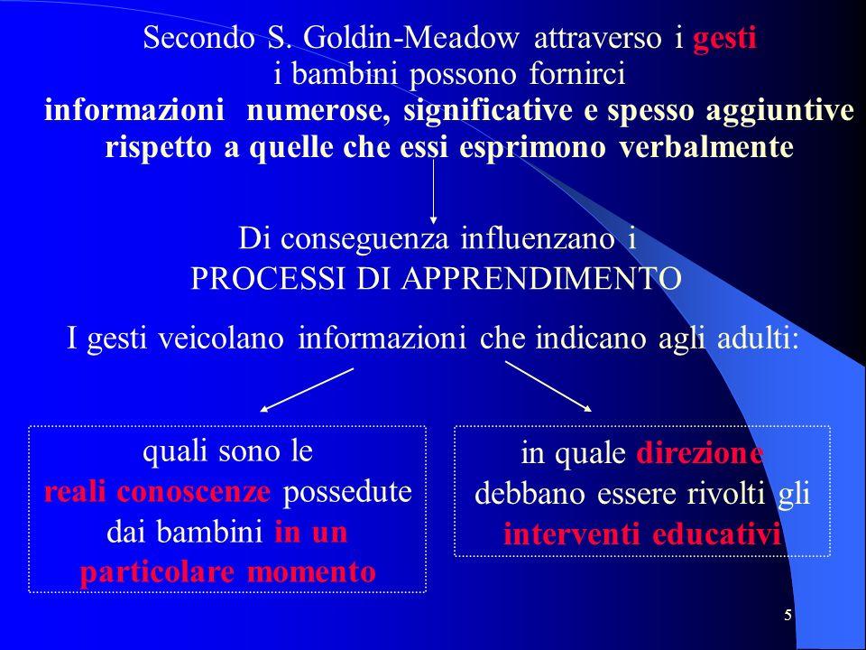5 Secondo S. Goldin-Meadow attraverso i gesti i bambini possono fornirci informazioni numerose, significative e spesso aggiuntive rispetto a quelle ch