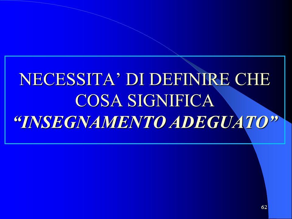 62 NECESSITA DI DEFINIRE CHE COSA SIGNIFICA INSEGNAMENTO ADEGUATO