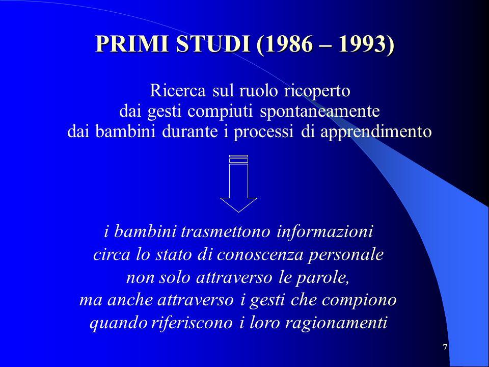 7 PRIMI STUDI (1986 – 1993) Ricerca sul ruolo ricoperto dai gesti compiuti spontaneamente dai bambini durante i processi di apprendimento i bambini tr