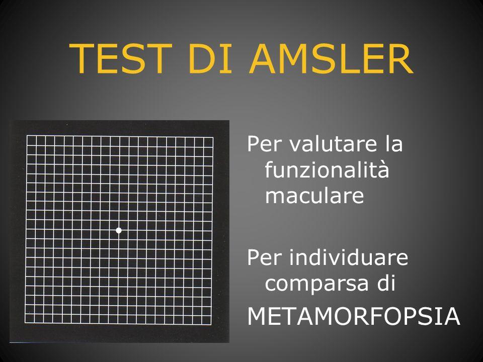 TEST DI AMSLER Per valutare la funzionalità maculare Per individuare comparsa di METAMORFOPSIA