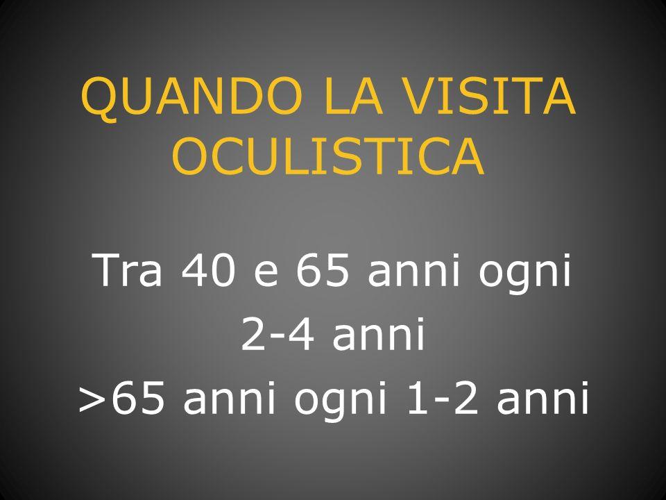 QUANDO LA VISITA OCULISTICA Tra 40 e 65 anni ogni 2-4 anni >65 anni ogni 1-2 anni