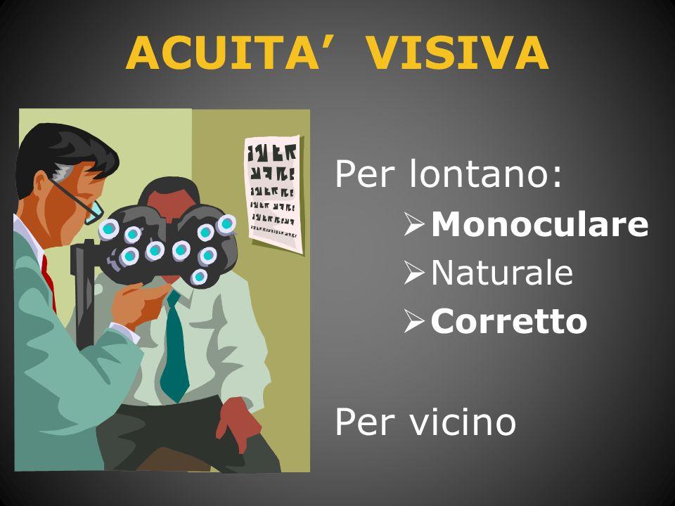 Decimi = acuità visiva Diottria = potere lente correttiva Gradi = inclinazione dellasse della lente cilidrica (correzione astigmatismo)