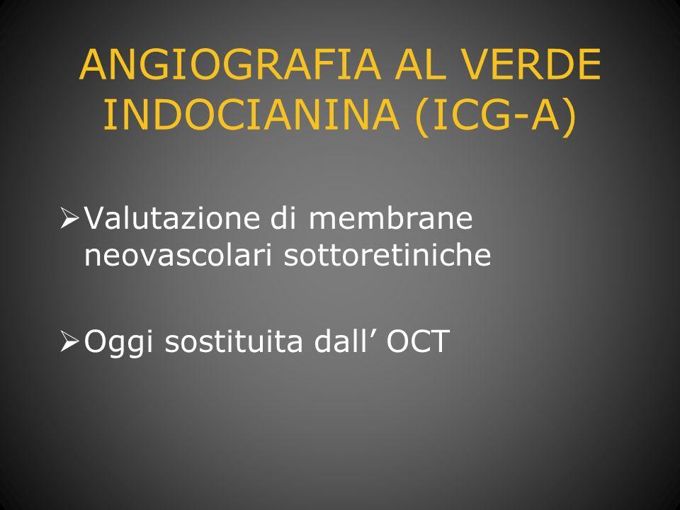 ANGIOGRAFIA AL VERDE INDOCIANINA (ICG-A) Valutazione di membrane neovascolari sottoretiniche Oggi sostituita dall OCT