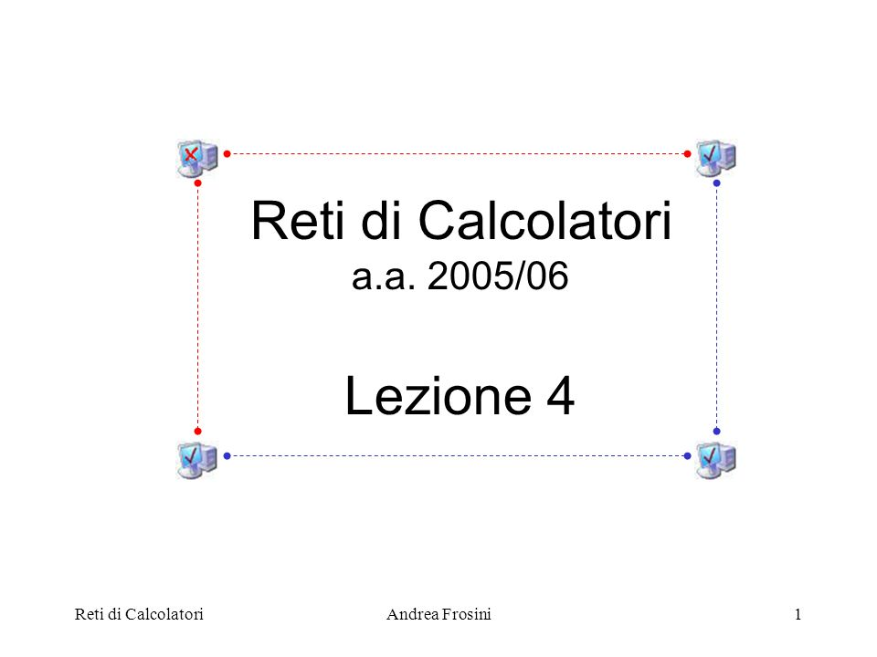 Reti di CalcolatoriAndrea Frosini2 Nel modello di riferimento: Application Transport Network Data Link Fisico