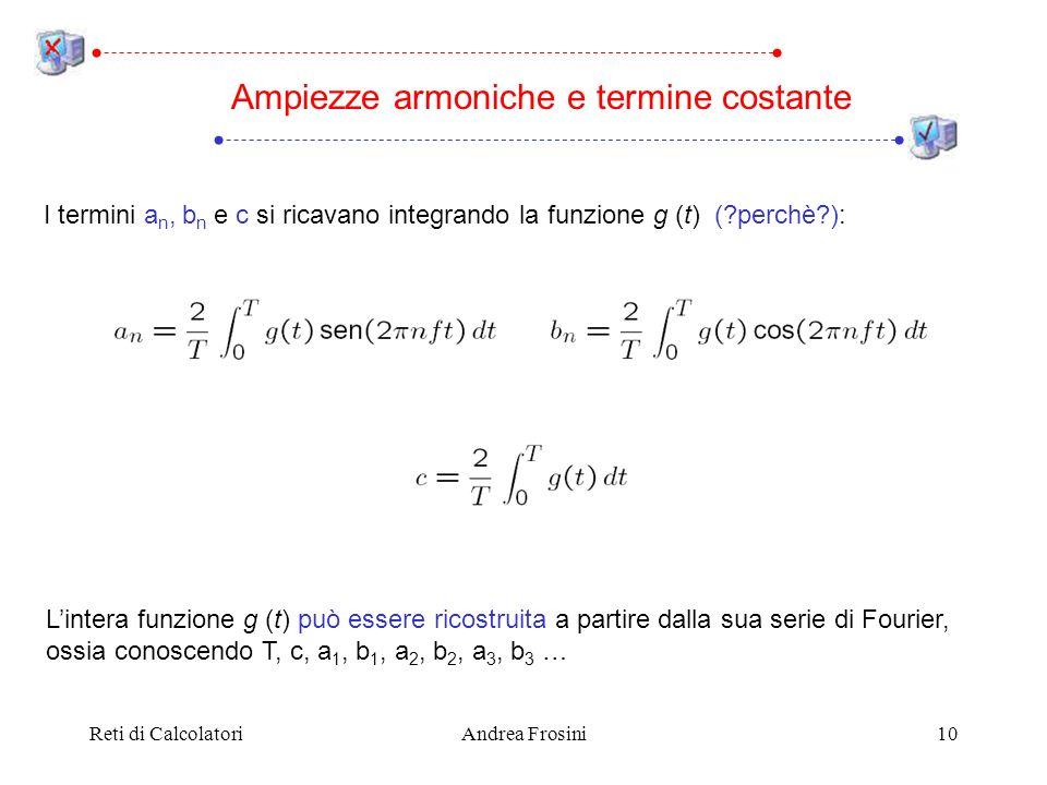 Reti di CalcolatoriAndrea Frosini10 Ampiezze armoniche e termine costante I termini a n, b n e c si ricavano integrando la funzione g (t) (?perchè?): Lintera funzione g (t) può essere ricostruita a partire dalla sua serie di Fourier, ossia conoscendo T, c, a 1, b 1, a 2, b 2, a 3, b 3 …