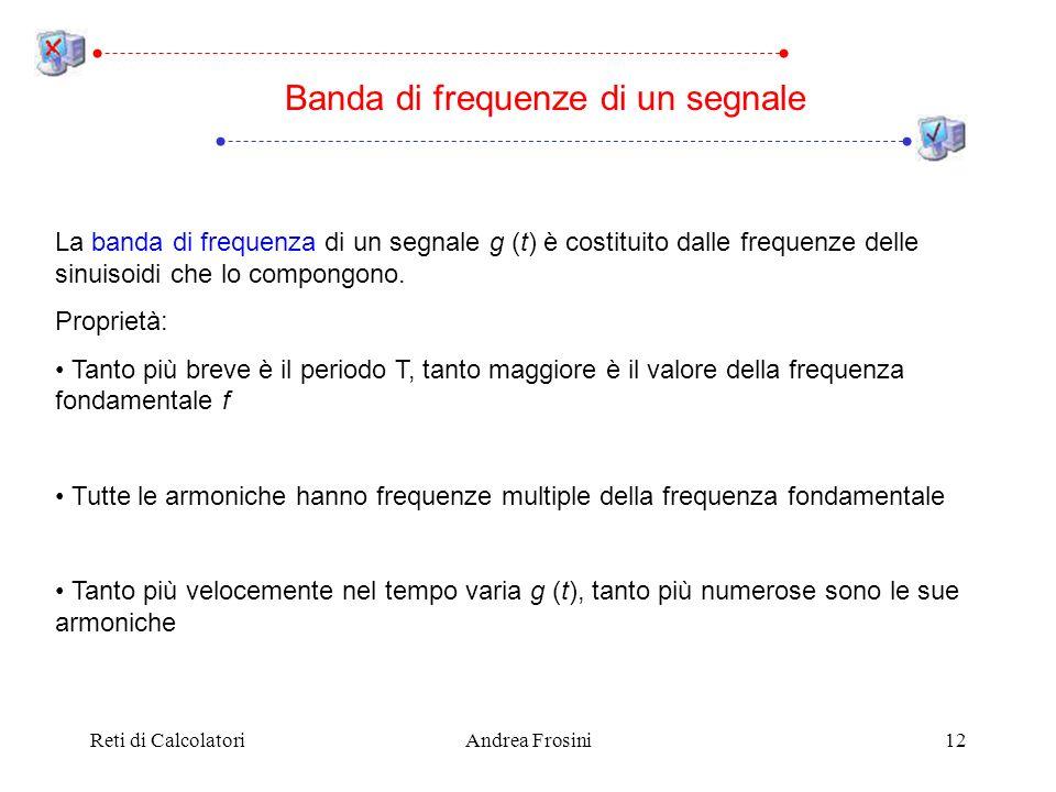 Reti di CalcolatoriAndrea Frosini12 Banda di frequenze di un segnale La banda di frequenza di un segnale g (t) è costituito dalle frequenze delle sinuisoidi che lo compongono.