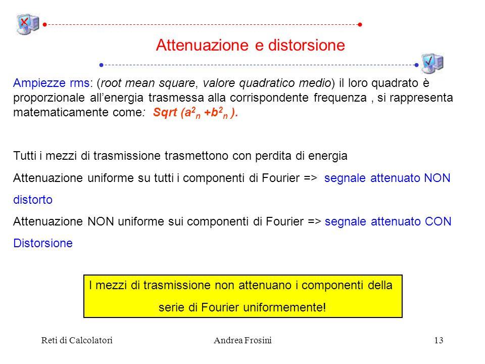 Reti di CalcolatoriAndrea Frosini13 Ampiezze rms: (root mean square, valore quadratico medio) il loro quadrato è proporzionale allenergia trasmessa al