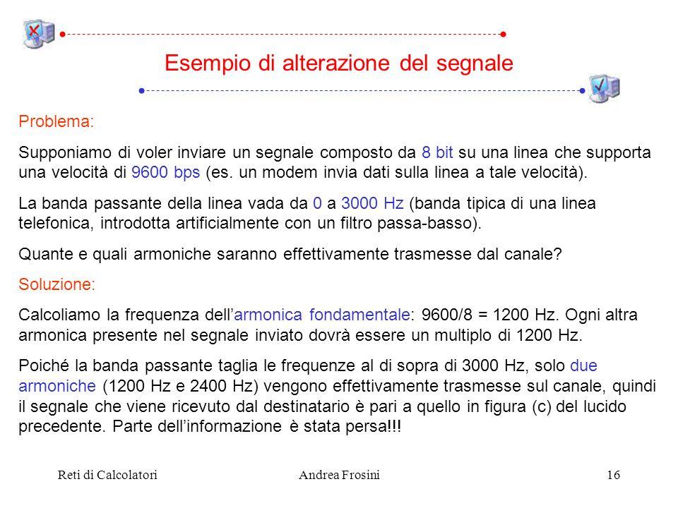 Reti di CalcolatoriAndrea Frosini16 Esempio di alterazione del segnale Problema: Supponiamo di voler inviare un segnale composto da 8 bit su una linea