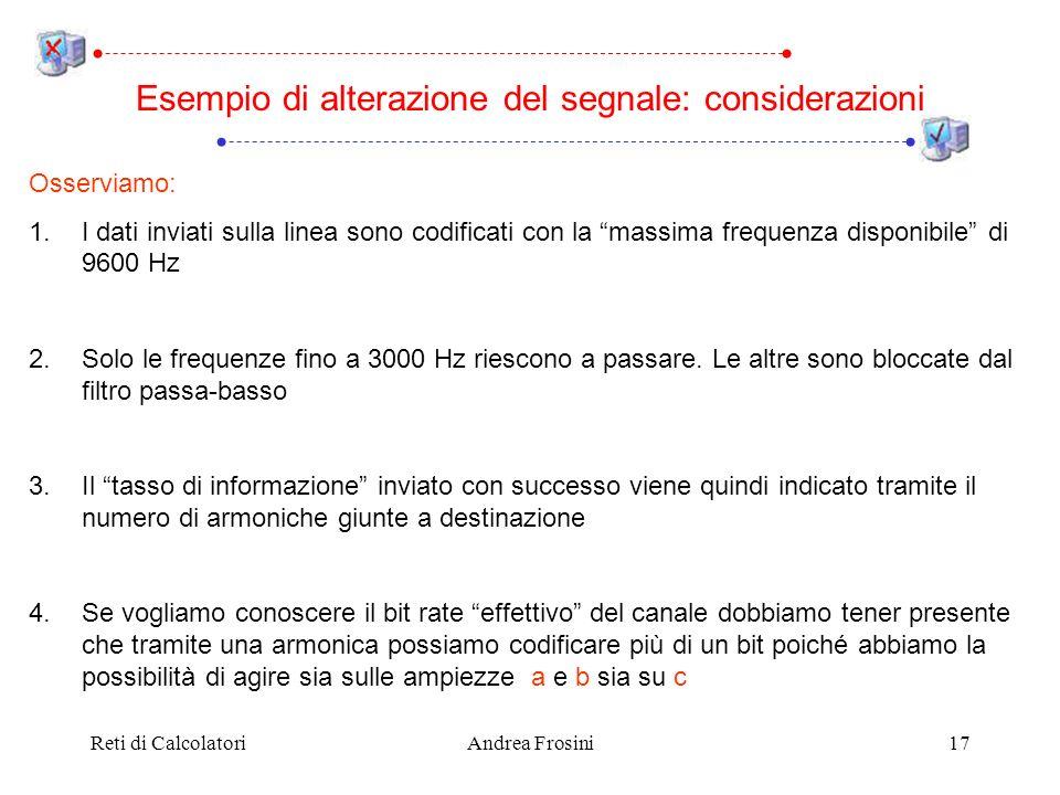 Reti di CalcolatoriAndrea Frosini17 Esempio di alterazione del segnale: considerazioni Osserviamo: 1.I dati inviati sulla linea sono codificati con la