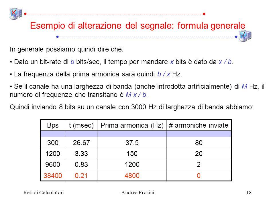 Reti di CalcolatoriAndrea Frosini18 In generale possiamo quindi dire che: Dato un bit-rate di b bits/sec, il tempo per mandare x bits è dato da x / b.