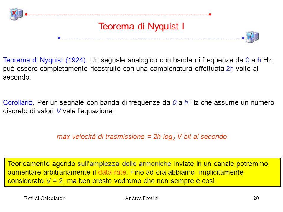 Reti di CalcolatoriAndrea Frosini20 Teorema di Nyquist (1924). Un segnale analogico con banda di frequenze da 0 a h Hz può essere completamente ricost