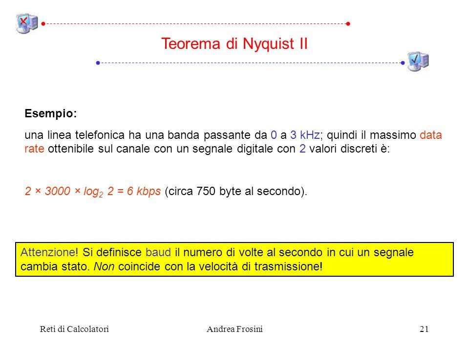 Reti di CalcolatoriAndrea Frosini21 Teorema di Nyquist II Esempio: una linea telefonica ha una banda passante da 0 a 3 kHz; quindi il massimo data rat