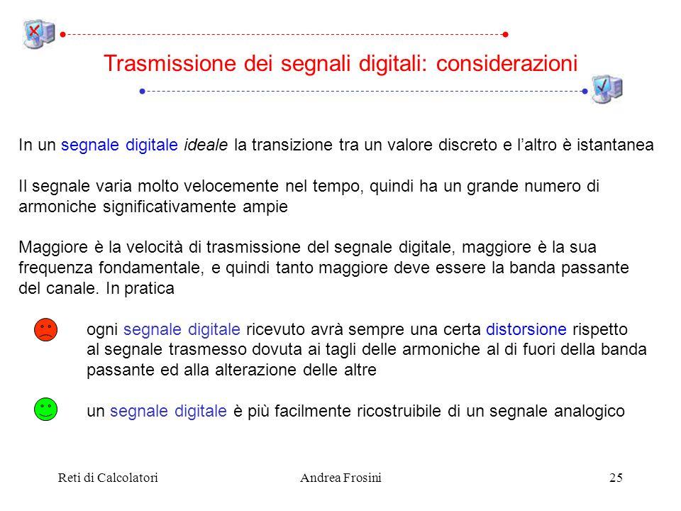 Reti di CalcolatoriAndrea Frosini25 Trasmissione dei segnali digitali: considerazioni In un segnale digitale ideale la transizione tra un valore discr