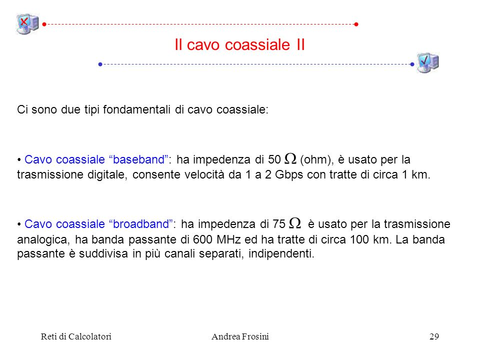 Reti di CalcolatoriAndrea Frosini29 Ci sono due tipi fondamentali di cavo coassiale: Cavo coassiale baseband: ha impedenza di 50 (ohm), è usato per la