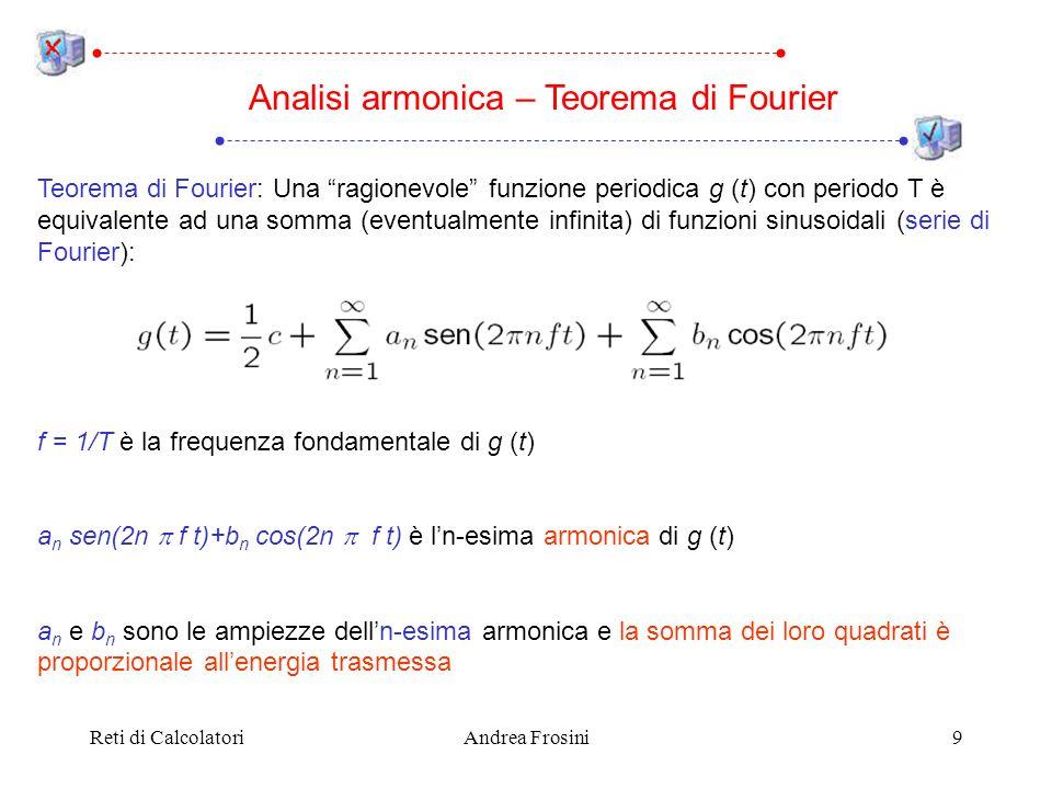 Reti di CalcolatoriAndrea Frosini9 Teorema di Fourier: Una ragionevole funzione periodica g (t) con periodo T è equivalente ad una somma (eventualmente infinita) di funzioni sinusoidali (serie di Fourier): f = 1/T è la frequenza fondamentale di g (t) a n sen(2n f t)+b n cos(2n f t) è ln-esima armonica di g (t) a n e b n sono le ampiezze delln-esima armonica e la somma dei loro quadrati è proporzionale allenergia trasmessa Analisi armonica – Teorema di Fourier