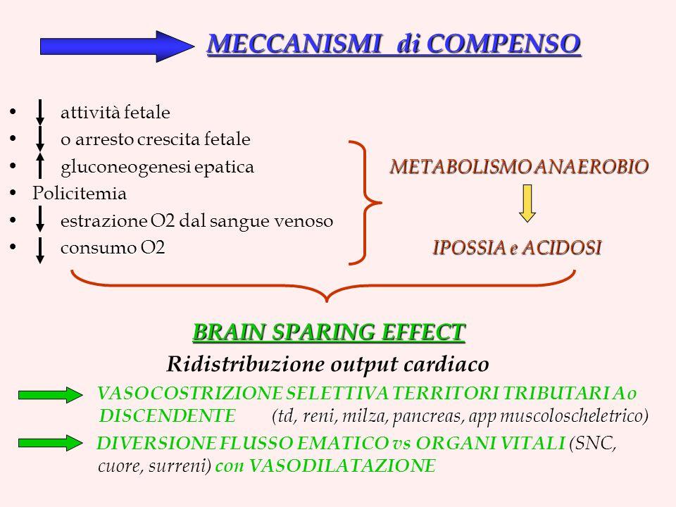 MECCANISMI di COMPENSO attività fetale o arresto crescita fetale METABOLISMO ANAEROBIO gluconeogenesi epatica METABOLISMO ANAEROBIO Policitemia estrazione O2 dal sangue venoso consumo O2 IPOSSIA e ACIDOSI consumo O2 IPOSSIA e ACIDOSI BRAIN SPARING EFFECT Ridistribuzione output cardiaco (td, reni, milza, pancreas, app muscoloscheletrico) VASOCOSTRIZIONE SELETTIVA TERRITORI TRIBUTARI Ao DISCENDENTE (td, reni, milza, pancreas, app muscoloscheletrico) DIVERSIONE FLUSSO EMATICO vs ORGANI VITALI (SNC, cuore, surreni) con VASODILATAZIONE