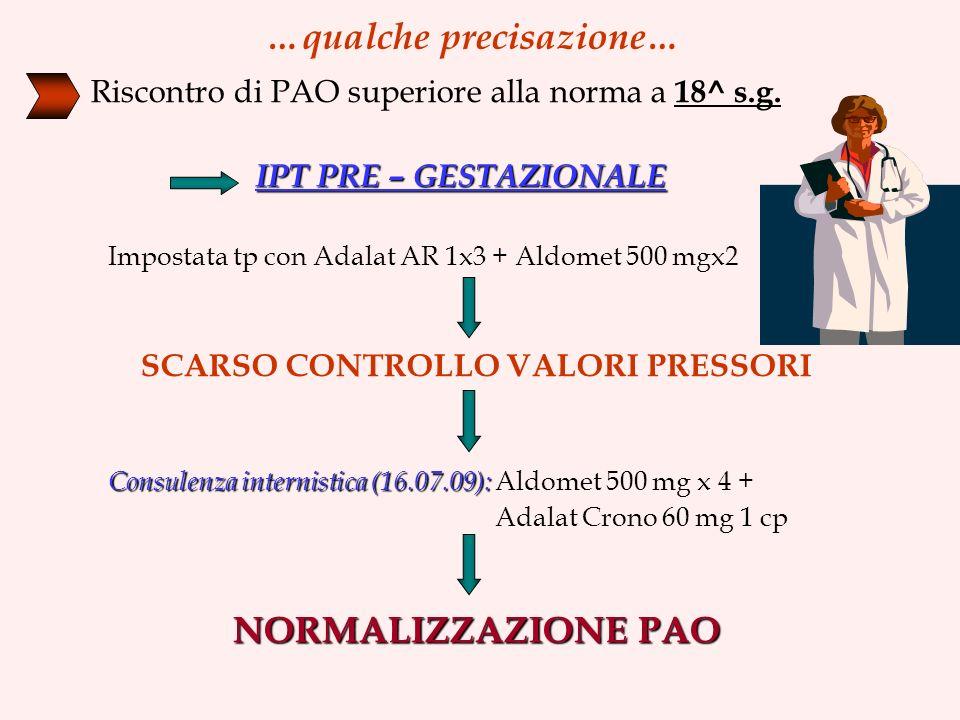…qualche precisazione… Riscontro di PAO superiore alla norma a 18^ s.g.