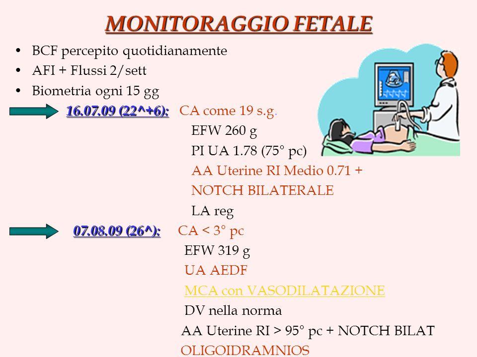 MONITORAGGIO FETALE BCF percepito quotidianamente AFI + Flussi 2/sett Biometria ogni 15 gg 16.07.09 (22^+6): 16.07.09 (22^+6): CA come 19 s.g. EFW 260
