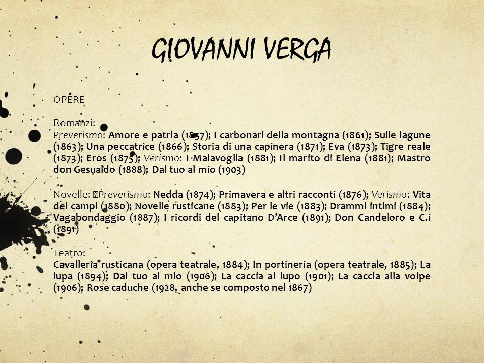 GIOVANNI VERGA OPERE Romanzi: Preverismo: Amore e patria (1857); I carbonari della montagna (1861); Sulle lagune (1863); Una peccatrice (1866); Storia