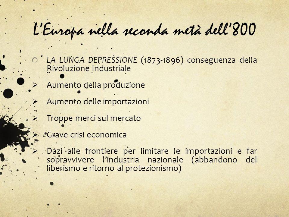LEuropa nella seconda metà dell800 LA LUNGA DEPRESSIONE (1873-1896) conseguenza della Rivoluzione Industriale Aumento della produzione Aumento delle i
