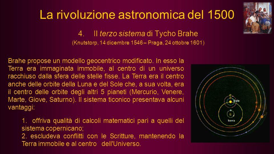 Brahe propose un modello geocentrico modificato. In esso la Terra era immaginata immobile, al centro di un universo racchiuso dalla sfera delle stelle