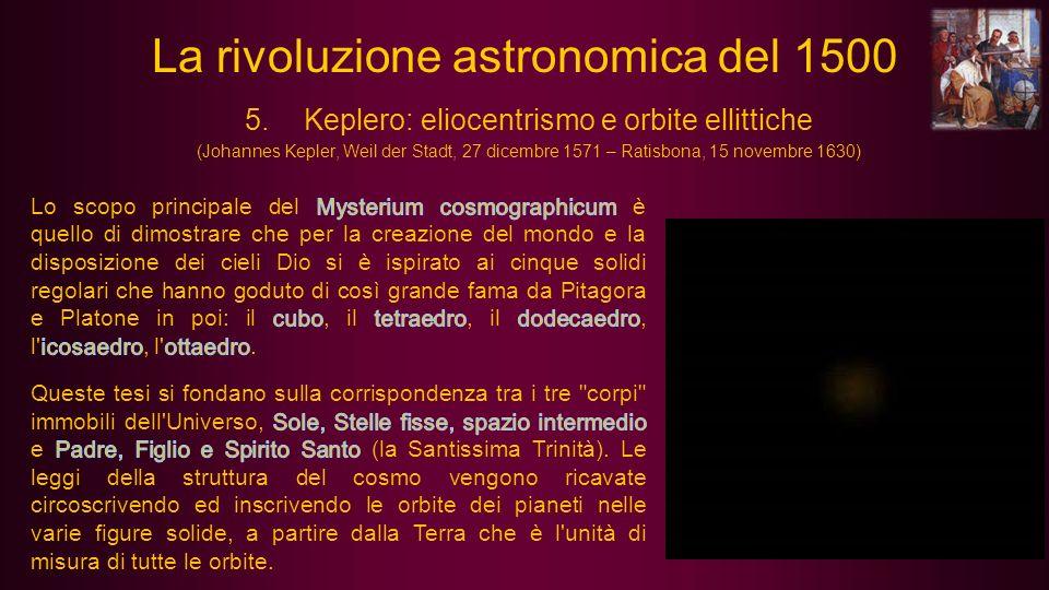 5.Keplero: eliocentrismo e orbite ellittiche (Johannes Kepler, Weil der Stadt, 27 dicembre 1571 – Ratisbona, 15 novembre 1630) La rivoluzione astronom