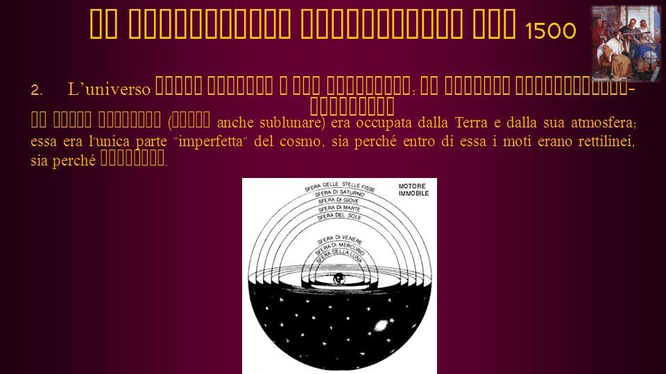 2.Luniverso degli antichi e dei medievali: il sistema aristotelico-tolemaico Al di fuori di questa sfera ve ne erano altre otto, le prime corrispondenti ai sette pianeti (nell ordine: Luna, Mercurio, Venere, Sole, Marte, Giove e Saturno) e l ultima alle stelle fisse.