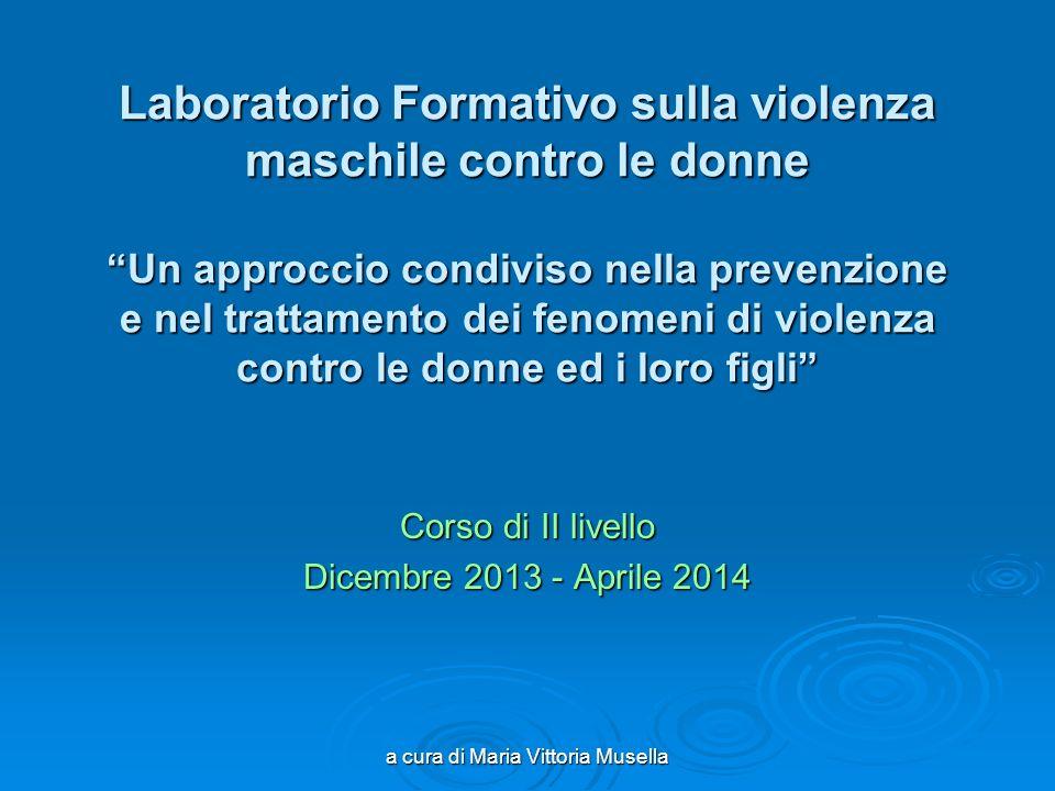 a cura di Maria Vittoria Musella Laboratorio Formativo sulla violenza maschile contro le donne Un approccio condiviso nella prevenzione e nel trattame