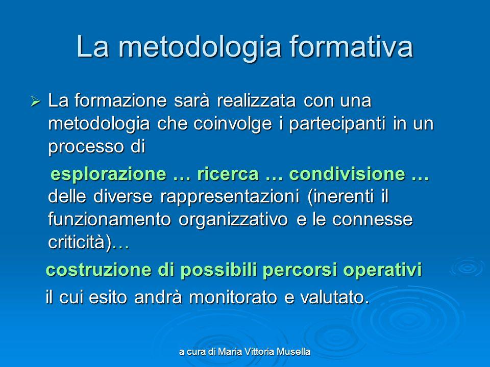 a cura di Maria Vittoria Musella La metodologia formativa La formazione sarà realizzata con una metodologia che coinvolge i partecipanti in un process