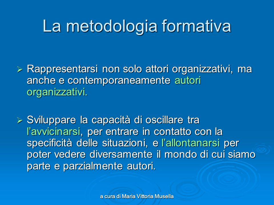 a cura di Maria Vittoria Musella La metodologia formativa Rappresentarsi non solo attori organizzativi, ma anche e contemporaneamente autori organizzativi.