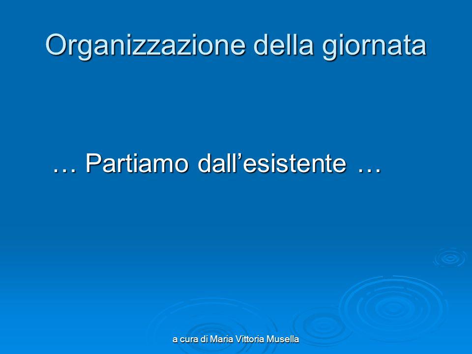 a cura di Maria Vittoria Musella Organizzazione della giornata … Partiamo dallesistente … … Partiamo dallesistente …