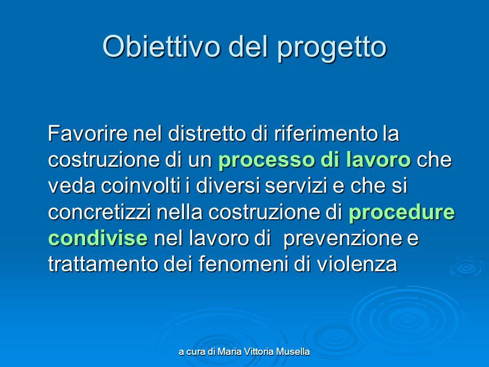a cura di Maria Vittoria Musella Obiettivo del progetto Favorire nel distretto di riferimento la costruzione di un processo di lavoro che veda coinvol