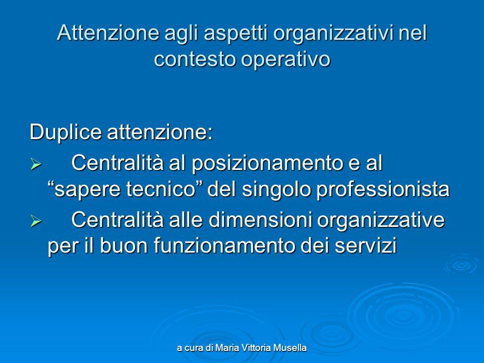 a cura di Maria Vittoria Musella Attenzione agli aspetti organizzativi nel contesto operativo Duplice attenzione: Centralità al posizionamento e al sa