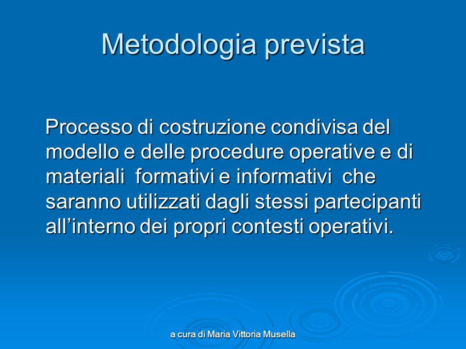 a cura di Maria Vittoria Musella Metodologia prevista Processo di costruzione condivisa del modello e delle procedure operative e di materiali formati