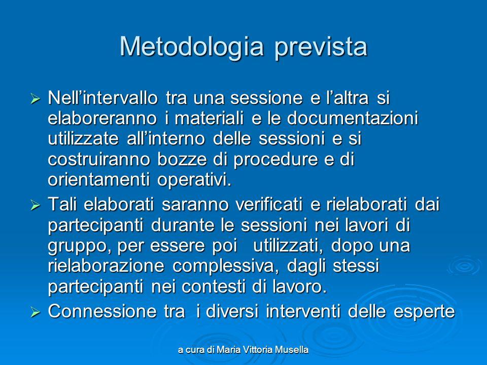 a cura di Maria Vittoria Musella Metodologia prevista Nellintervallo tra una sessione e laltra si elaboreranno i materiali e le documentazioni utilizz