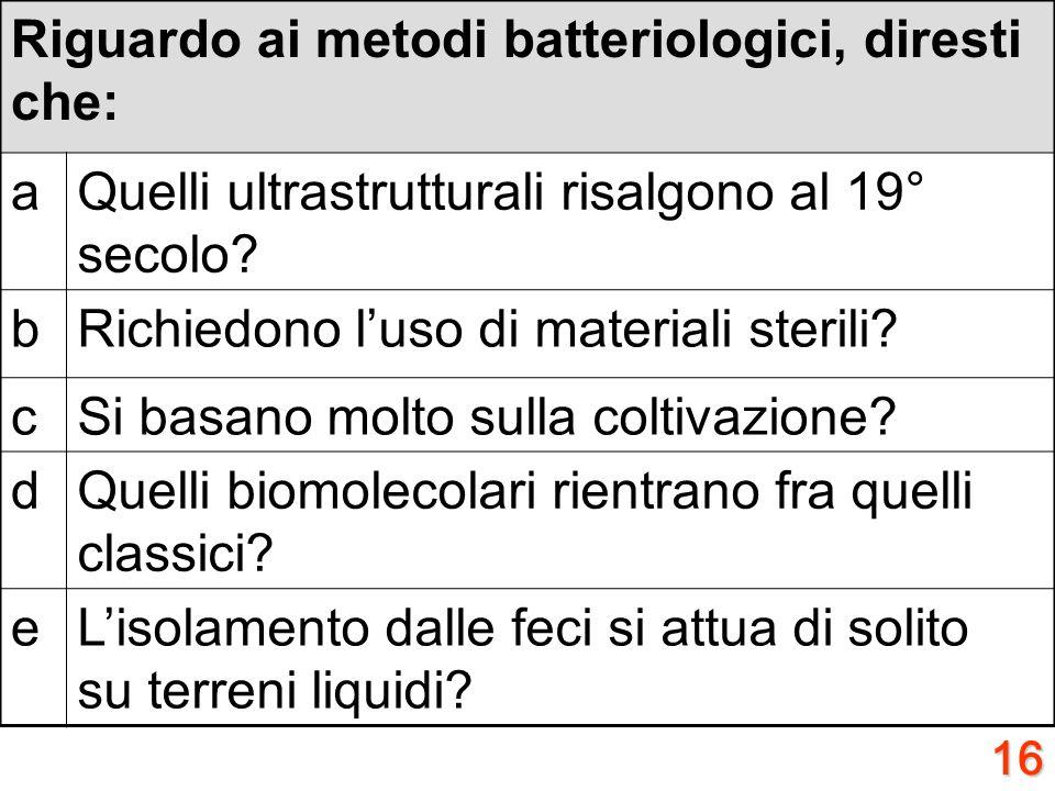 15 A proposito della virulenza, diresti che: aQuella del Vibrio cholerae dipende dalla capsula? bE alta in Rickettsia prowazekii? cE bassa negli stafi