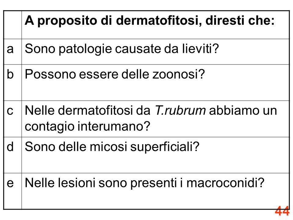 43 A proposito delle patologie da miceti, diresti che: aLe aspergillosi sono delle patologie prevalentemente opportuniste? bLe criptococcosi sono dell