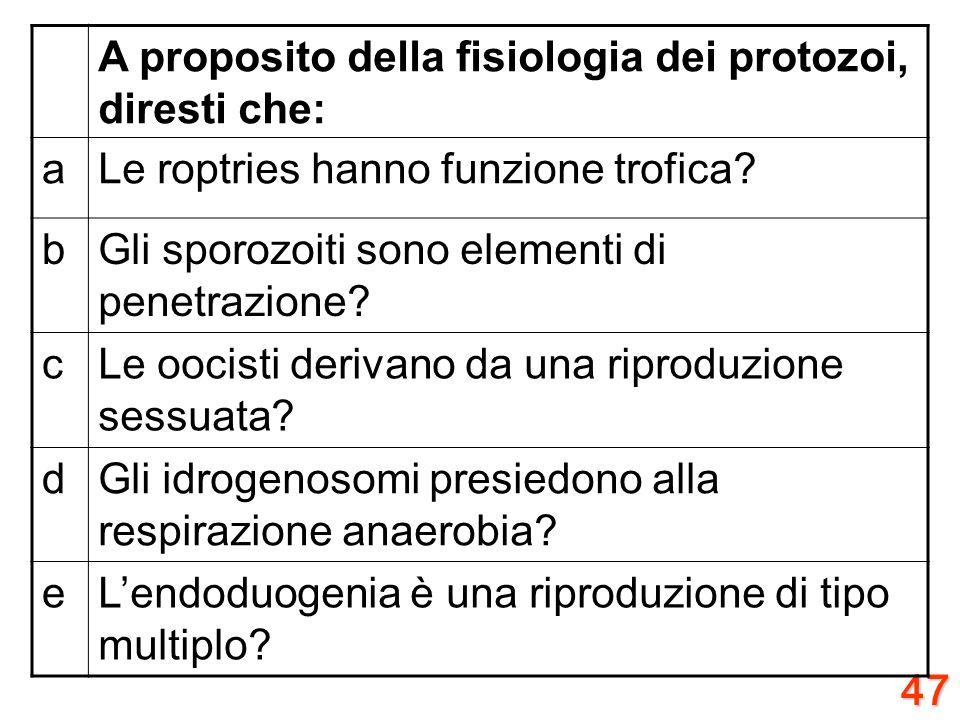 46 A proposito della morfologia dei protozoi, diresti che: ail glicocalice è una struttura con funzione antigene? bil conoide ha funzione riproduttiva