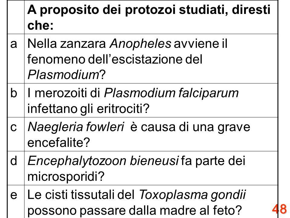 47 A proposito della fisiologia dei protozoi, diresti che: aLe roptries hanno funzione trofica? bGli sporozoiti sono elementi di penetrazione? cLe ooc