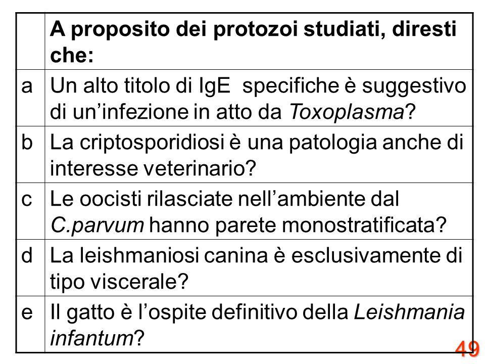 48 A proposito dei protozoi studiati, diresti che: aNella zanzara Anopheles avviene il fenomeno dellescistazione del Plasmodium? bI merozoiti di Plasm
