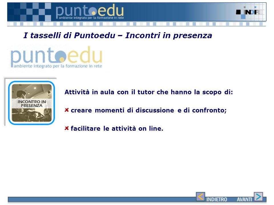 I tasselli di Puntoedu – Classe virtuale Spazio di incontro tra un gruppo di studenti e il tutor facilitatore per: Discutere Approfondire Ampliare Il
