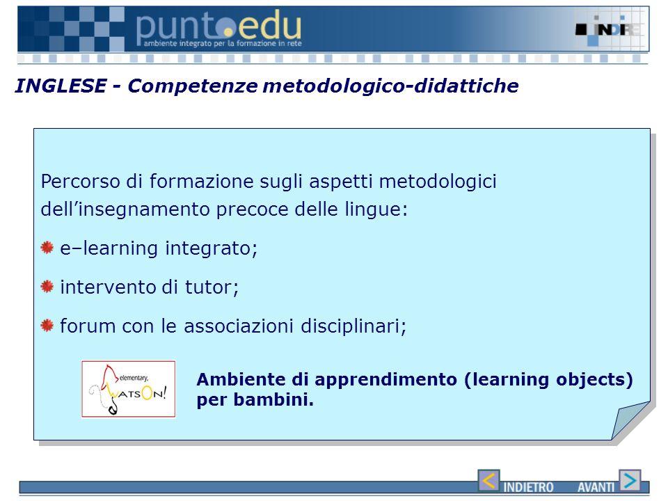 INGLESE - Competenze linguistiche Attività on line Attività on line Attività in presenza con i tutor che si sono formati con Lingue 2000 Full immersio