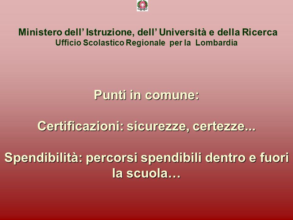 Ministero dell Istruzione, dell Università e della Ricerca Ufficio Scolastico Regionale per la Lombardia Punti in comune: Certificazioni: sicurezze, certezze...