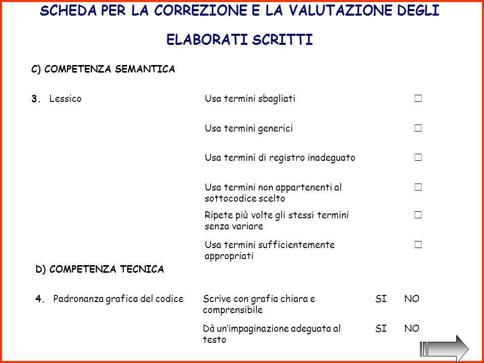 SCHEDA PER LA CORREZIONE E LA VALUTAZIONE DEGLI ELABORATI SCRITTI C) COMPETENZA SEMANTICA 3.