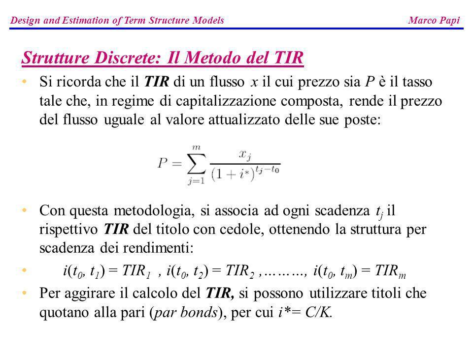 Strutture Discrete: Il Metodo del TIR Si ricorda che il TIR di un flusso x il cui prezzo sia P è il tasso tale che, in regime di capitalizzazione comp